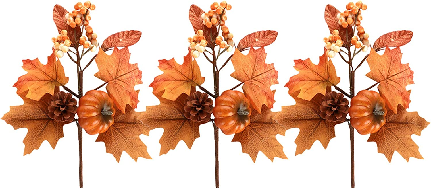 AOJIE 3 Pack Fake Silk Maple Leaves Branches Autumn Artificial Pumpkin Berry Twig Stem,Artificial Flower Decor Picks for Home Kitchen Christmas Festival Thanksgiving Autumns Decoration