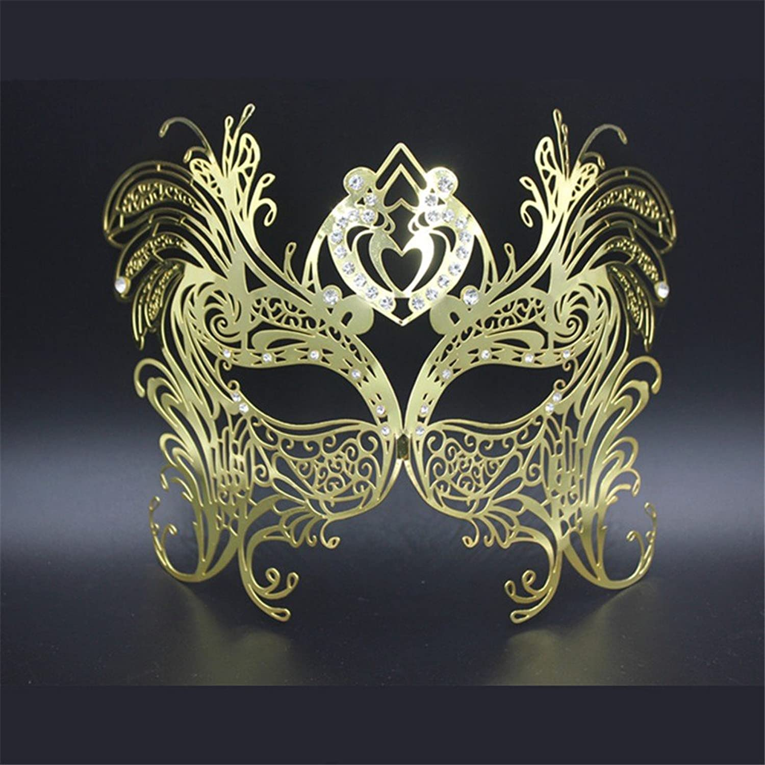 Mardi Gras Party Masquerade Mask,Halloween Party Party mask highend Venice Flower Dance Empty Rhinestones Professional Metal mask Enamel gold Prom Masks