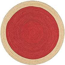Sanganeri Print Jute Rugs - 48'' x 48'', Red