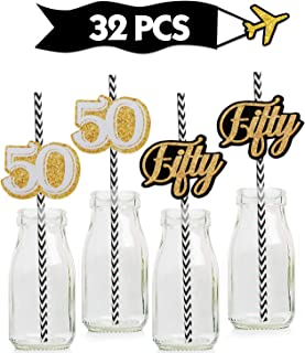 50th Gold Striped Paper Straw Décor- Birthday Anniversary Party decoration – Set of 32