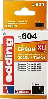 edding - Cartuccia per stampante edd-604, sostituisce Epson 202XL (T02G1), colore: nero, capacità: 20 ml