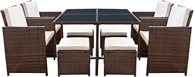 Devoko 9 Pieces Patio Dining Sets Outdoor Space Saving Rattan Chairs with Glass Table Patio Furniture Sets Cushioned Seating