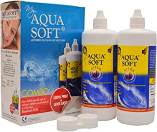 Aqua soft Multi Purpose Cleaning Solution with Lens Case (360 Ml) -Pack of 2