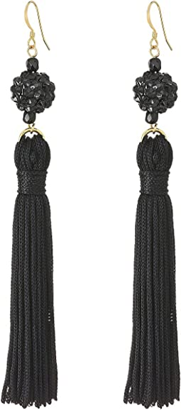 Jet Ball with Black Tassel Fish Hook Earrings