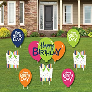 Cheerful Happy Birthday - Yard Sign and Outdoor Lawn Decorations - Colorful Birthday Party Yard Signs - Set of 8