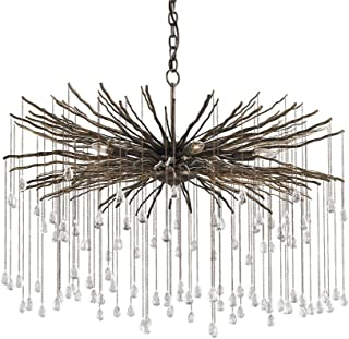 Currey and Company 9451 Fen - Six Light Chandelier, Cupertino Finish with Clear Crystal