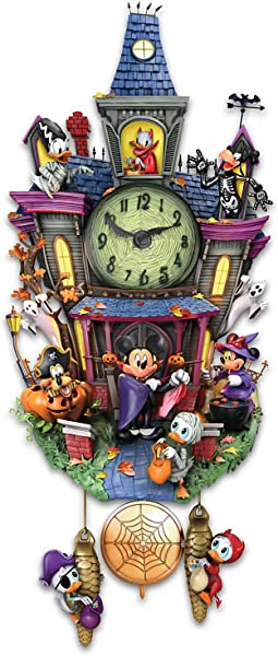 Disney Halloween Themed Cuckoo Clock With 9 Disney Characters Lights And Music By The Bradford Exchange