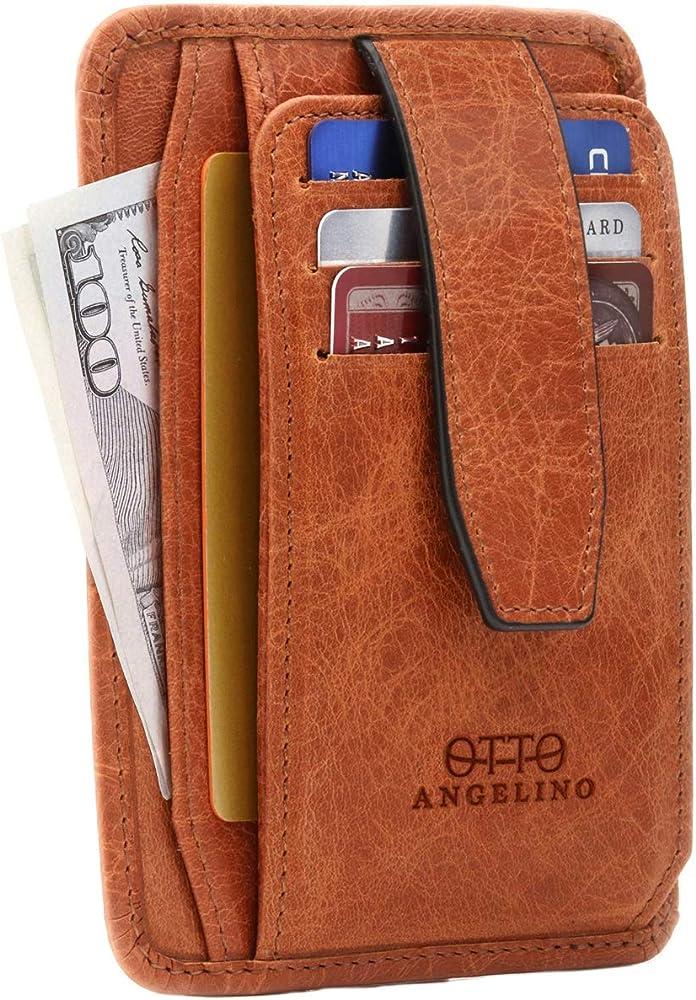 Otto angelino, porta carte di credito, portafoglio da uomo ultra slim, in vera pelle, con blocco rfid OTTO136