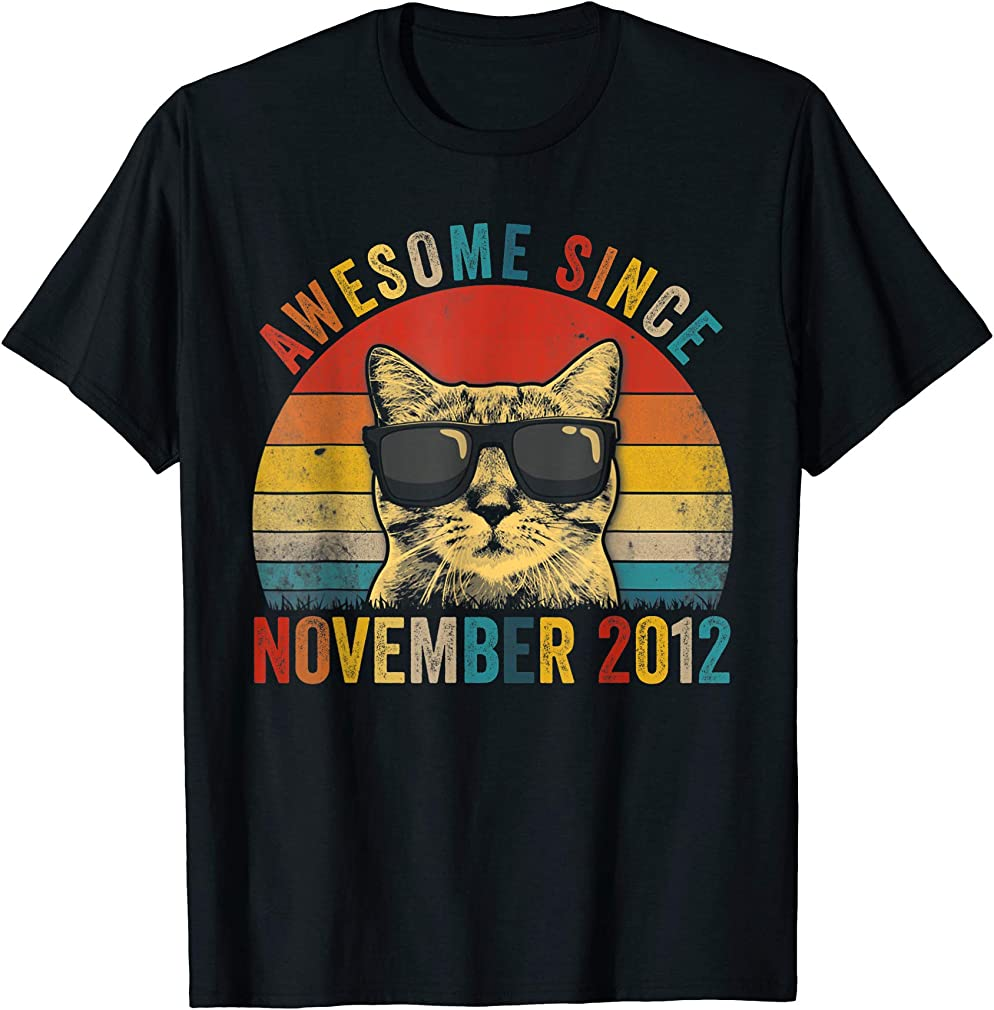 Awesome Since November Cat Lover 2012 7th Birthday Gift T-shirt