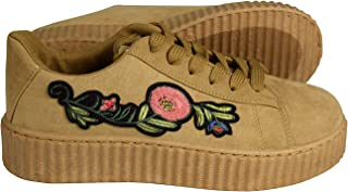 Peach Couture Women Fashion Sneaker Suede Flat Platform Lace Up Casual Shoes
