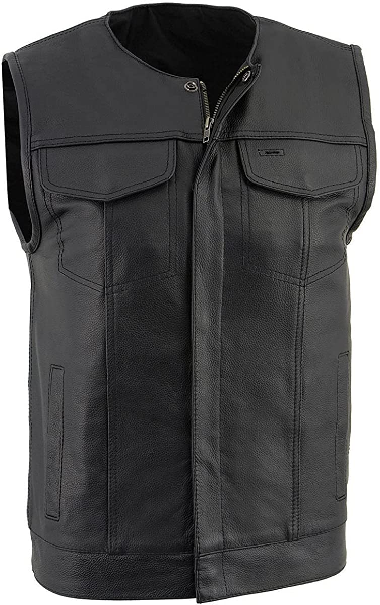 Milwaukee Leather LKM3711 Men's Collarless Dual Snap and Zipper Front Closure Club Leather Vest