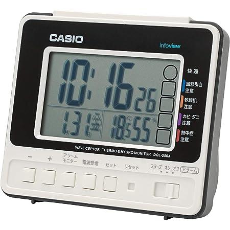 CASIO(カシオ) 目覚まし時計 電波 ホワイト デジタル 生活環境 温度 湿度 カレンダー 表示 DQL-250J-7JF