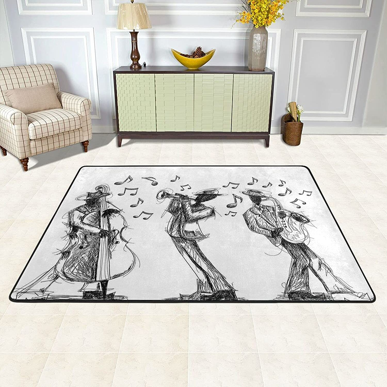 Area Rugs quality assurance Pad for Bedroom Fashionable Living Sketch of Musi Room Jazz Style