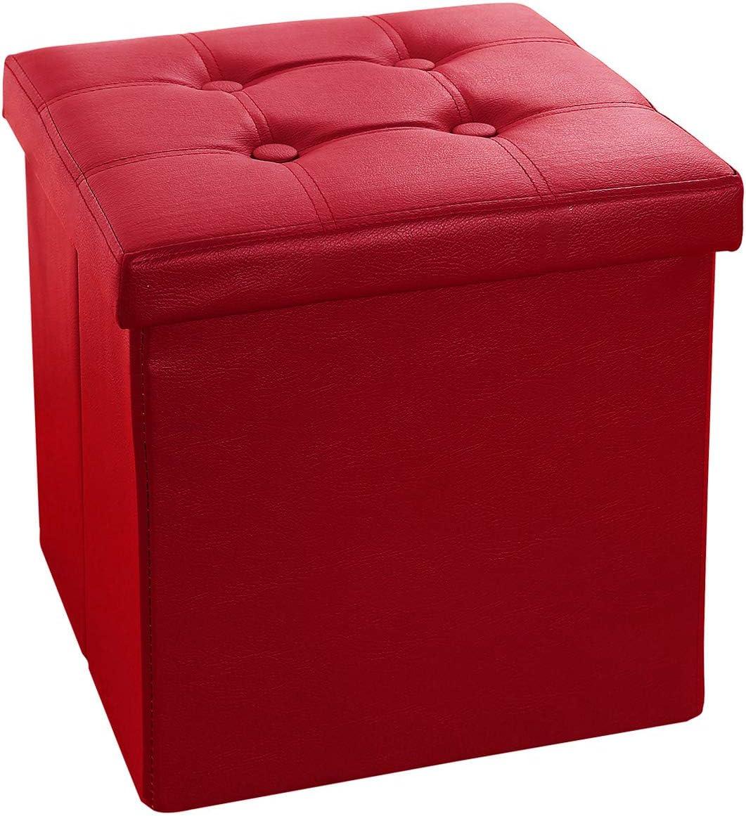 AmasSmile Seasonal Wrap Introduction Folding Storage Ottoman Cube 15x15x15 inch Leat Over item handling ☆ Faux