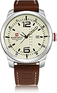 Naviforce Men's White Dial Stainless Steel Analogue Classic Watch - NF9063-SBBN