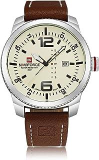 ساعة انالوج كلاسيكية بمينا بيضاء وسوار من الستانلس ستيل للرجال من نافي فورس - NF9063-SBBN