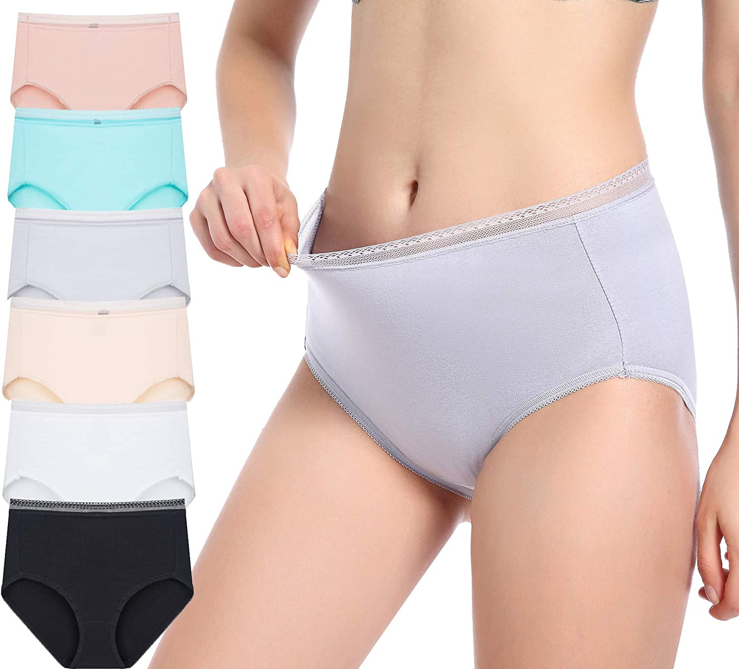6 Pack Woman's High Waisted Cotton Soft and Breathable Panties, Colorful Full Rear Coverage Panties (Plus Size)