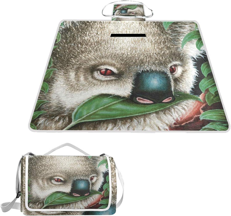 LiKai Picnic Blanket Cute Koala Foldable Portable Waterproof Outdoor Travelling Camping Beach Mat