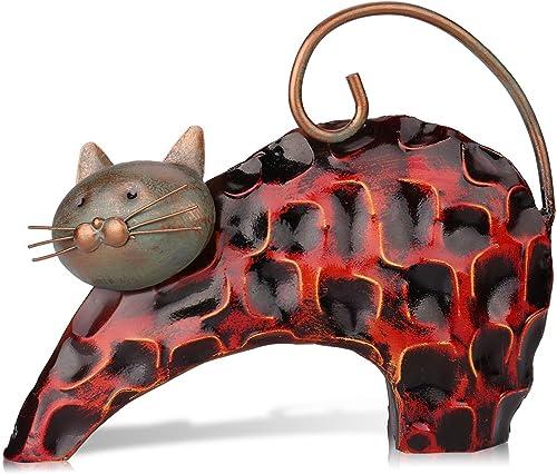 Tooarts Chat Sculpture en Métal Sculptrue Fer Sculpture Animalière Crafting Accueil Articles d'AmeuBlement Décoration...