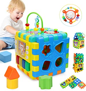 BBLIKE Baby Activity Cube with Bead Maze, 6 in 1 Multipurpose Activity Center Busy Learner Cube with Shapes Maze Music Gears Clock Educational for Kids 1 Year+