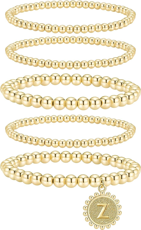 Adoyi Gold Beaded Bracelets for Women Bead Bracelet Set Stretch