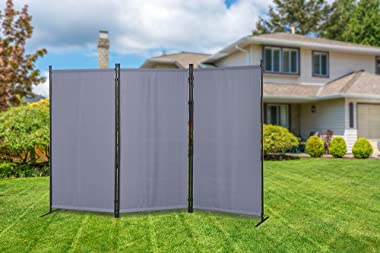 """Proman Products Galaxy Outdoor/Indoor Room Divider (3-Panel), 102"""" W X 16"""" D x 71"""" H, Gray"""