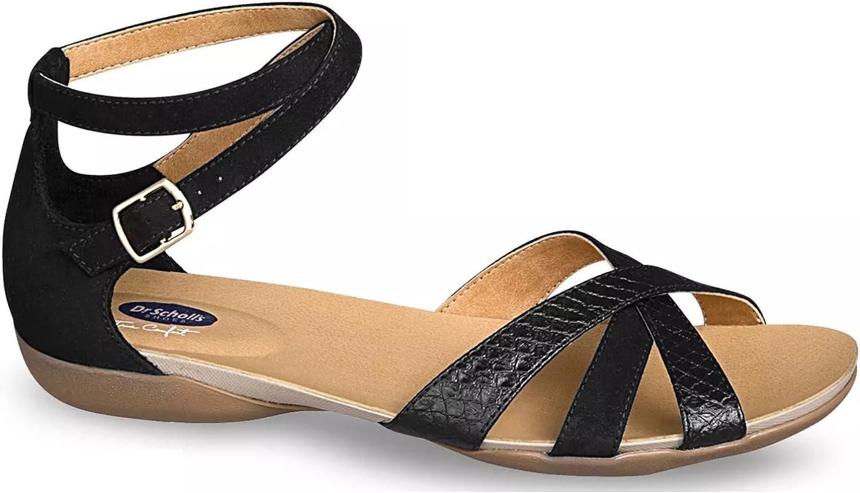 Dr. Scholl's Comfort Women's Black Ankle Strap Comfort Flat Sandal