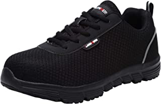 LARNMERN Steel Toe Women Safety Shoes, Breathable Lightweight Industrial Construction Sneakers