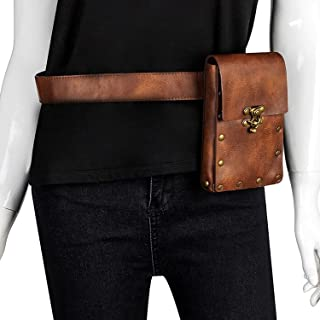 Waist Bag, Medieval Retro Leather Women's Multifunction Fashion Trumpet Postman Messenger Men Belt Bags Mobile Phone Pouch...