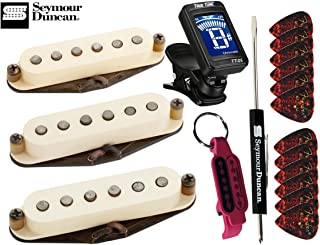 Seymour Duncan Antiquity Texas Hot Strat Pickup Set Middle, Neck, Bridge with True Tune Tuner, Fender Picks, Tool and Keychain 11028-01