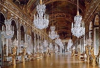 AOFOTO 7x5ft Versailles Palace Mirror Gallery Background Luxury Chandelier Photography Backdrop Sculpture Retro Ceiling Mural Wedding Lovers Adult Portrait Vintage Photo Studio Props Wallpaper