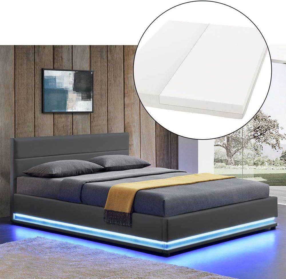 ArtLife Polsterbett Toulouse 140×200 cm – Bett mit Matratze, Lattenrost, Kopfteil, LED & Stauraum – Modernes Bettgestell – Bezug aus Kunstleder grau