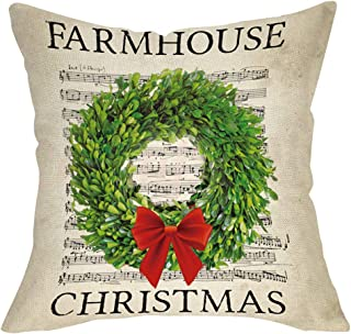 Softxpp Farmhouse Christmas Throw Pillow Cover, Merry Xmas Boxwood Wreath Sign Decorative Cushion Case, Home Winter Decoration Holiday Square Pillowcase Decor for Sofa Couch 18 x 18 Inch Cotton Linen