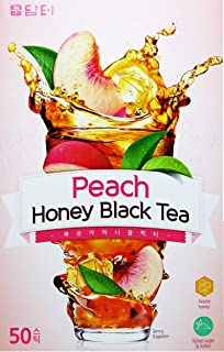DAMTUH Peach Honey Black Tea, Instant Black Tea with Real Peach Juice, 50 Sticks