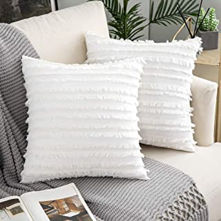 Woaboy Pack of 2 Decorative Throw Pillow Covers Cotton Linen Stripe Cushion Covers Square Farmhouse Style Pillowcases for Couch Bed Sofa Living Room 20x20inch 50x50cm White