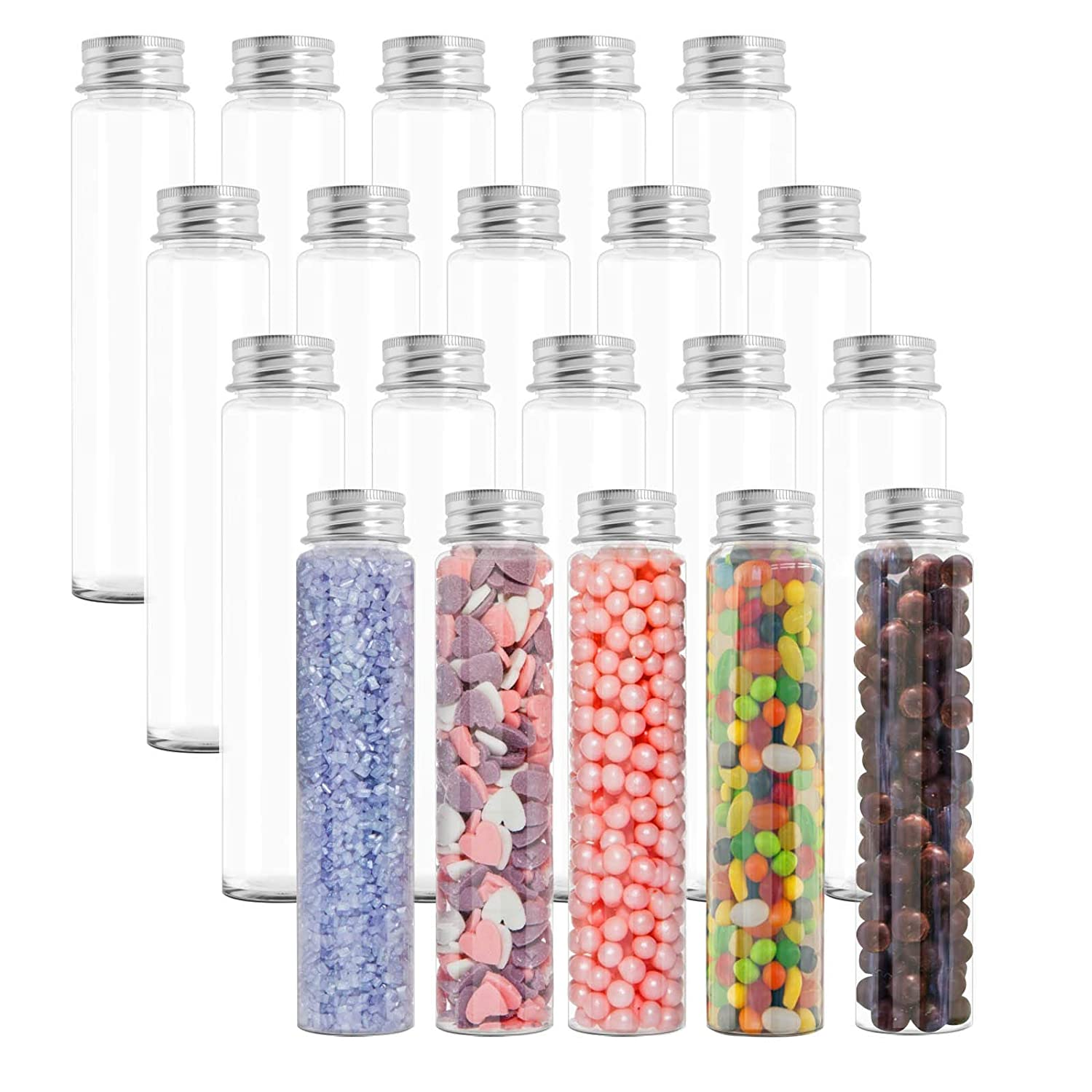 Temedon 20pcs Plastic Test Tubes, 34×150mm(110ml) Flat Test Tubes with Screw Cap for Bath Salts, Gumball Candy Storage, Hot Chocolate, Plant Propagation