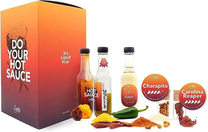 61 opinioni per DIY Hot-Sauce Gourmet Set   Regalo perfetto per il Fai da te con 5 peperoncini,