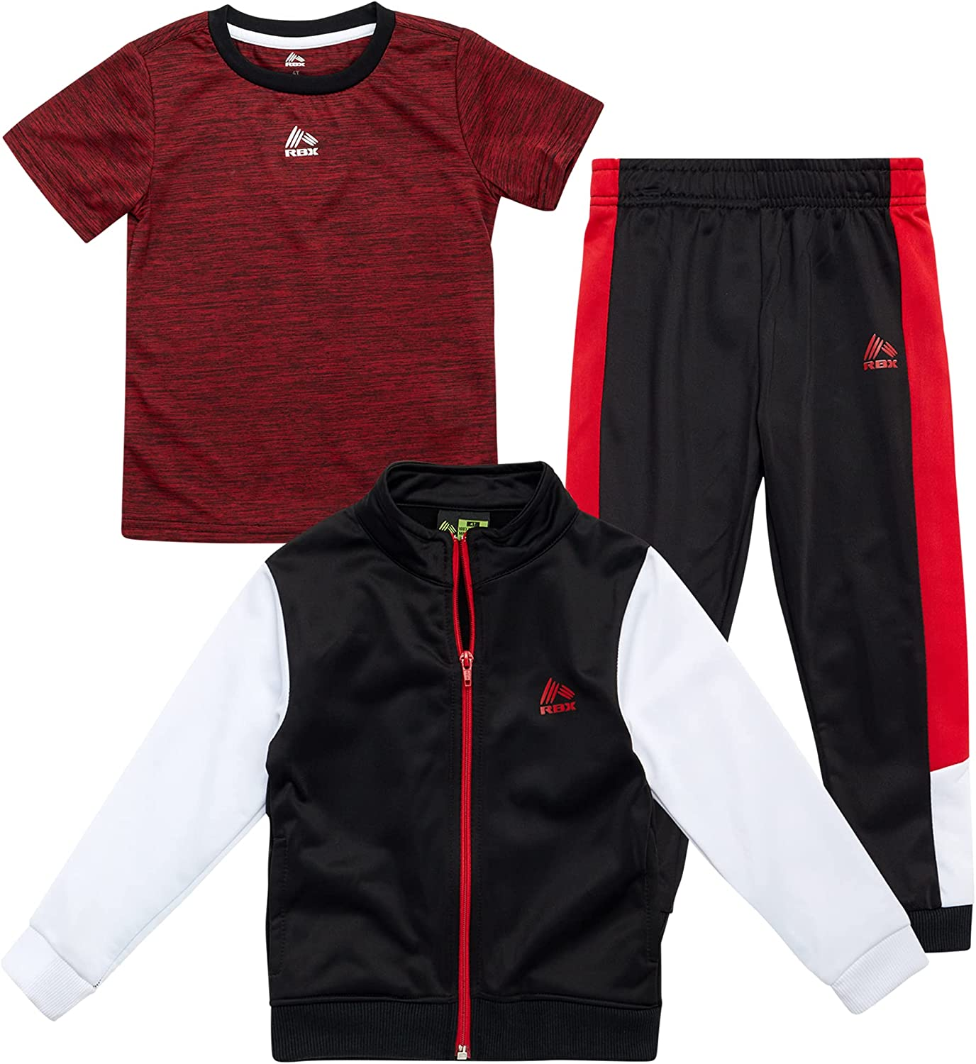 RBX Baby Boys' Jogger Set - 3-Piece T-Shirt, Sweatshirt, and Joggers Playwear Set, Size 12 Months, Black-Red