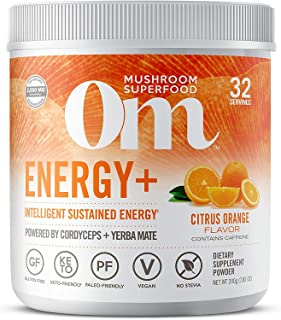 Om Mushroom Superfood Powder, Energy Plus, Citrus Orange, 7.05 Ounce (32 Servings), Cordyceps, Yerba Mate, & Vitamin C, Im...