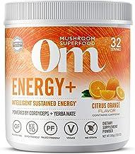 Om Mushroom Superfood Powder, Energy Plus, Citrus Orange, 7.05 Ounce (32 Servings), Cordyceps, Yerba Mate, & Vitamin C, Im...