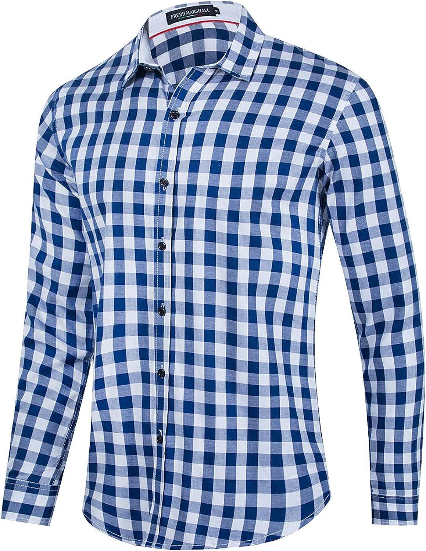 Men's Casual Cotton Long Sleeve Dress Shirt Plaid Business Dress Shirt Slim Fit Shirt Casual Button Down Shirt