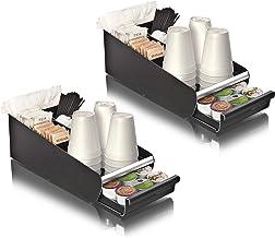 Mind Reader 2ORG01-BLK Condiment Storage Organizer with K-Cup Single Serve Coffee Pod Drawer, One Size, Black 2 Pack