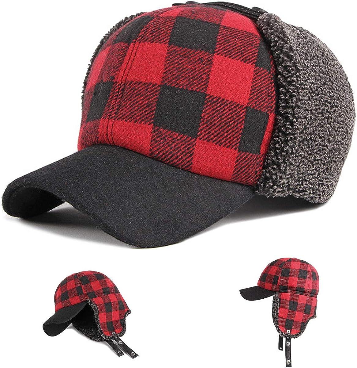 HunterBee Winter Trapper Baseball Cap Hat Thick Sherpa Earflaps Buffalo Plaid fold Sherpa Earflaps Warm Black and Red