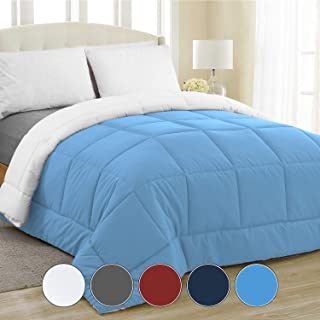 Equinox All-Season Sky Blue/White Quilted Comforter - Goose Down Alternative - Reversible Duvet Insert Set - Machine Washable - Hypoallergenic - Plush Microfiber Fill (350 GSM) Queen 88 x 88 Inches