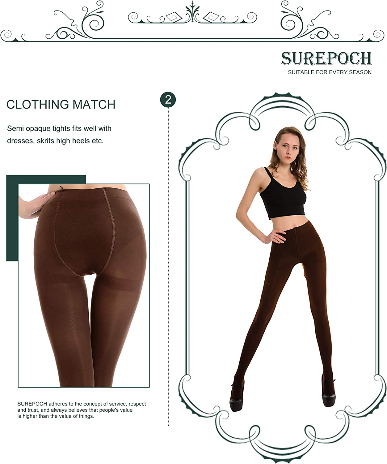 SUREPOCH 2 Pairs Women's Opaque Tights Control Top Soft Solid Color Footed Pantyhos