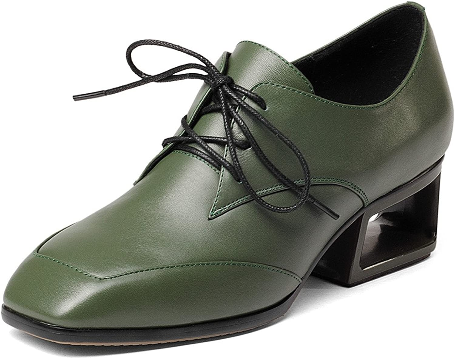 Nine Seven Women's Chunky Heel Oxfords, Square Toe Lace Up Handmade Causal Comfort Pumps shoes