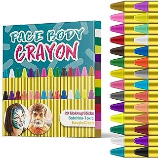 JamBer Pinturas Cara para Niños No Tóxico Pinturas Facial28 Colores crayones de Pintura Carnaval Halloween Fiestas Sema...