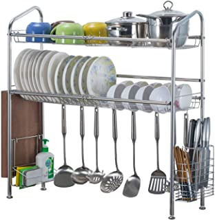 Geeaoo Dish Drying Rack 2 Tier Over Sink Dish Rack Stainless Steel Dish Drainers Shelf with Dish Storage Holder Cutting Board Chopstick Holder for Kitchen Sink Countertop