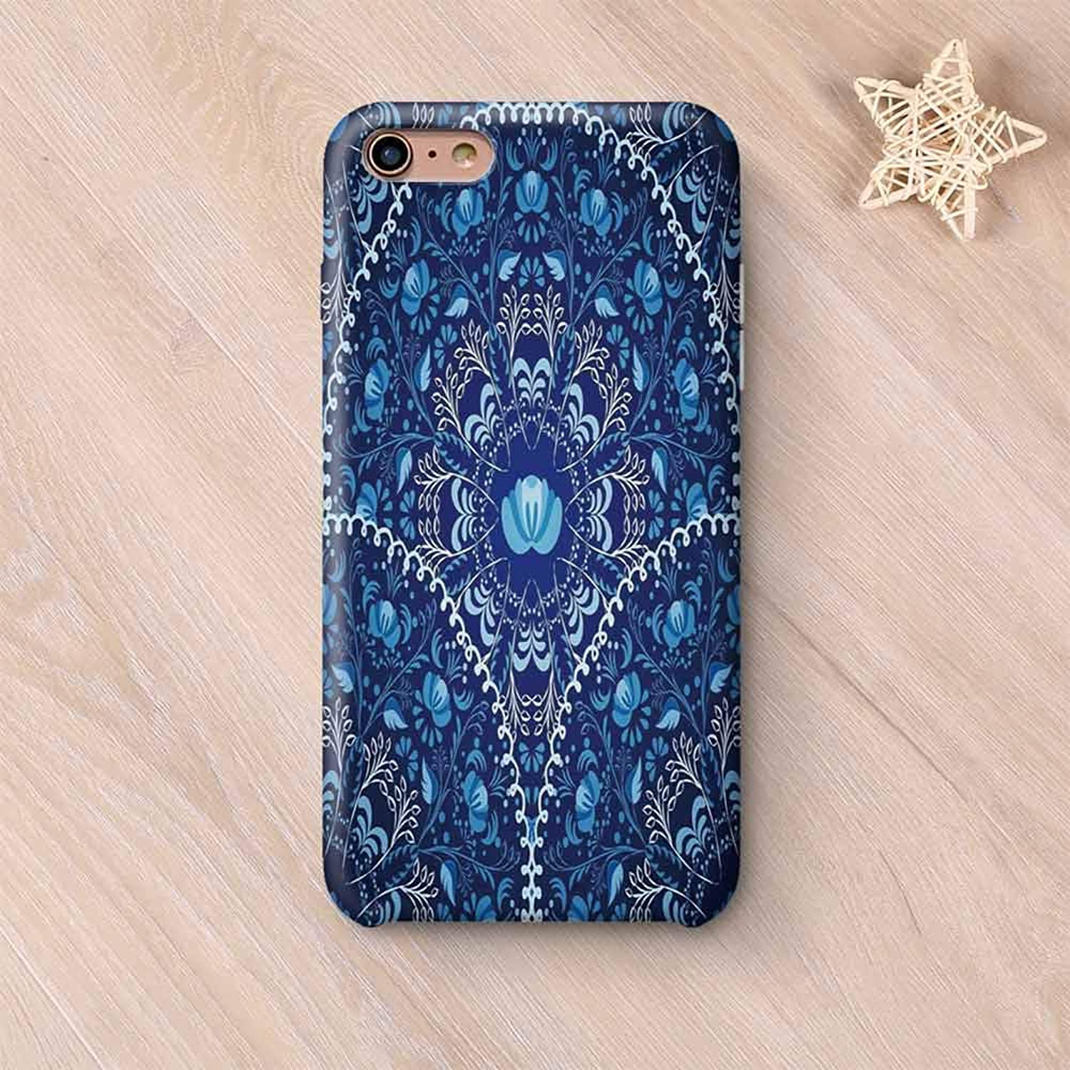 Navy Blue Decor No Odor Compatible with iPhone Case,Circular and Floral Alike Oriental Patterned Design Artwork Compatible with iPhone 7/8 Plus,iPhone 6 Plus / 6s Plus
