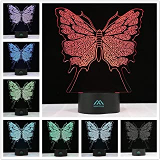 3D Night Light 7 Color Butterfly for Room Decorative Lamp or Gifts for Friends/Kids